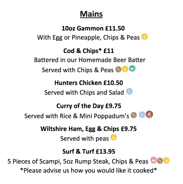 Menu mains summer Cheltenham