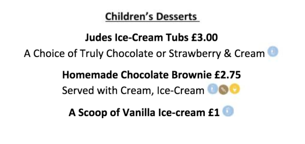 Menu childs, dessert, summer Cheltenham